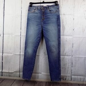 Zara High Rise Button Fly Skinny Jeans Size 6 NWOT